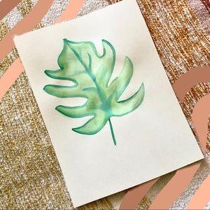 Palm leaf watercolor print